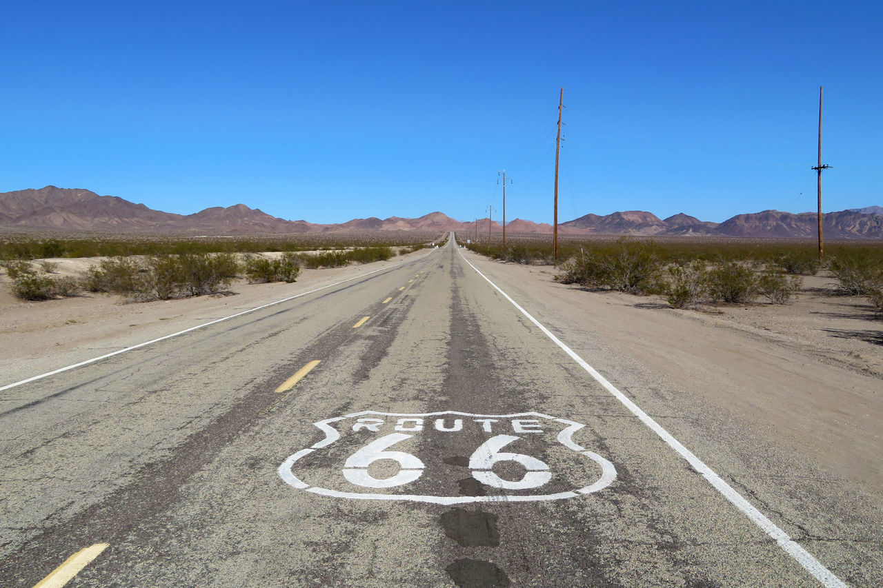Route 66 America Asphalt California Clear Sky Day Famous Places Landscape Mountain Nature No People Outdoors Road Road Sign Route 66 Scenics Sky The Way Forward Transportation