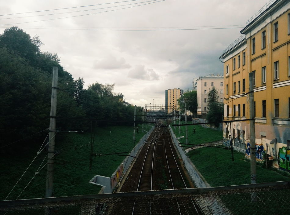 Architecture Cloud - Sky Built Structure Sky Building Exterior No People Outdoors Day Apartment City Tree Railroad Railway Track Railway Bridge Railway Rails Urban Urban Landscape Moscow Moscow, Москва Moscow, Russia Rzd