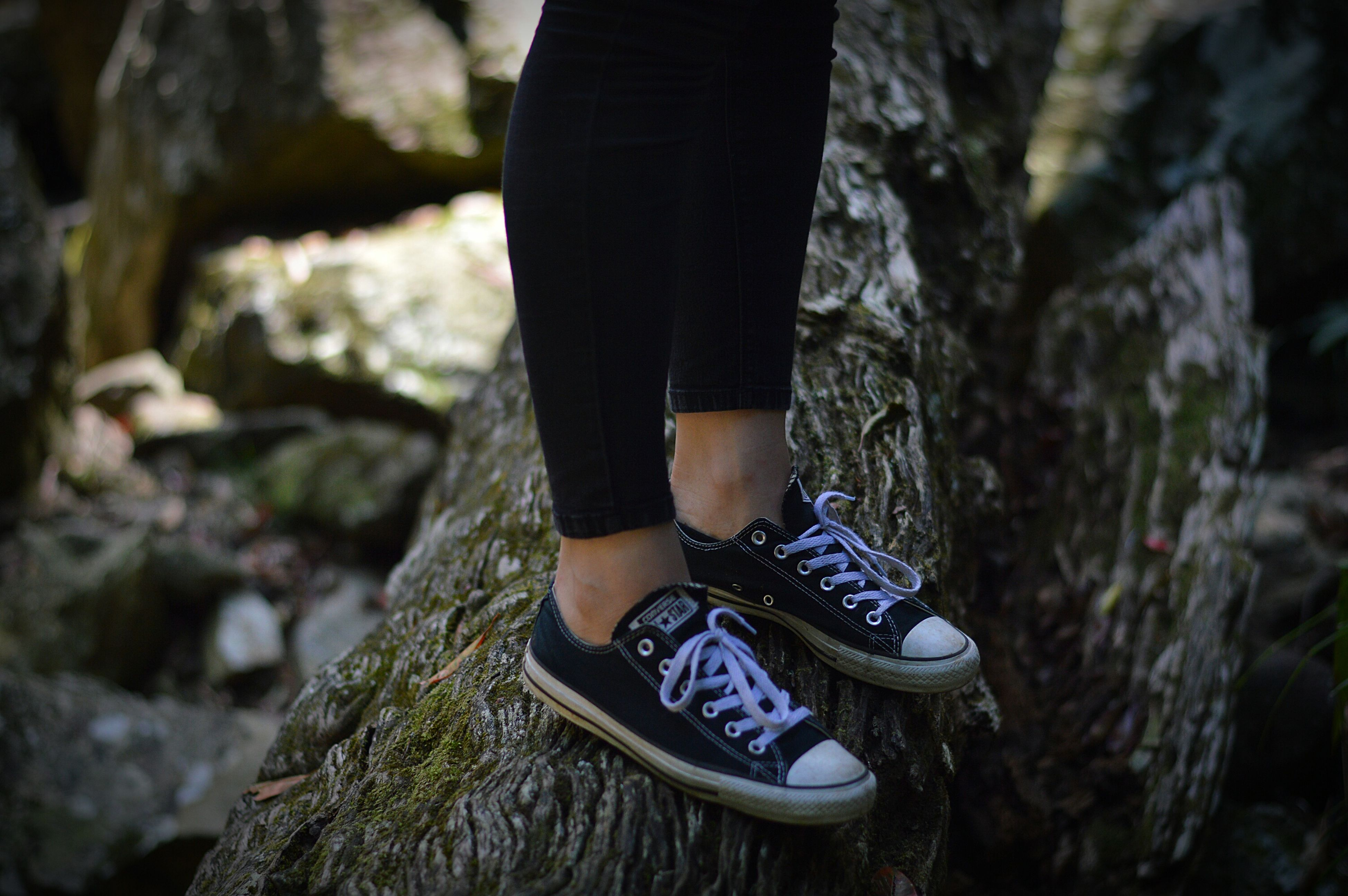 lifestyles, low section, focus on foreground, standing, leisure activity, person, shoe, casual clothing, men, selective focus, outdoors, midsection, day, tree trunk, close-up, rear view