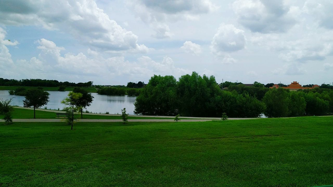 Tree Cloud - Sky Nature Beauty In Nature Green Color Tranquility No People Day Grass Outdoors Sport Landscape Scenics Sky Water Golf Course Ngwoosh