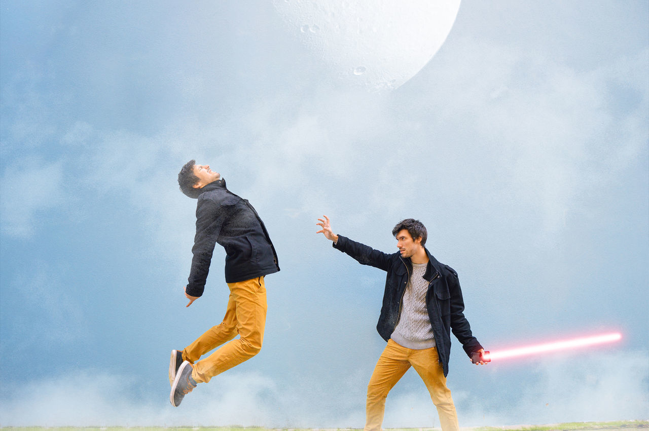May The 4th be with you! Amazing Blue Casual Clothing Check This Out Eye4photography  EyeEm Best Edits EyeEm Best Shots EyeEm Gallery Fan Fight Flying Fun Jumping Lightsaber MayThe4thBeWithYou Moon Outdoors Outside Person Sky Smoke Star Wars Starwars Twins Two Is Better Than One