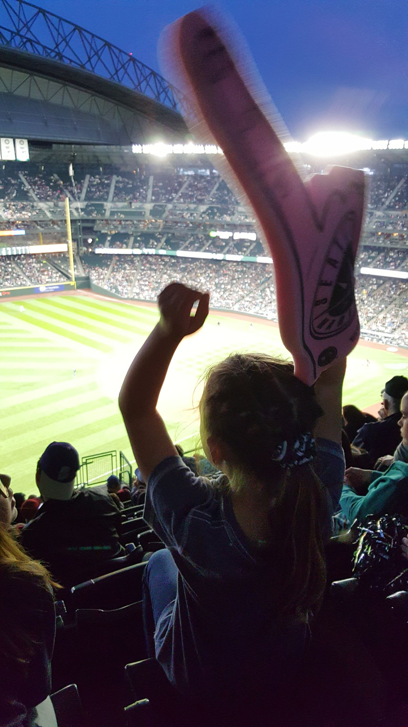 Fan - Enthusiast Arms Raised Baseball Stadium Fun Excitement Human Body Part Crowd Safeco Field Spectator Event Sport Cheering Rooting For My Team  Large Group Of People Night Match - Sport Celebration Audience