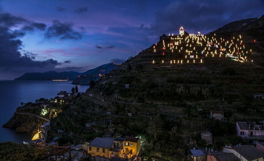 Blue hour in Manarola, nativity scene Cinque Terre Italia Italy Liguria Manarola Nativity Scene Night Ora Blu Sera Sunset Tramonto