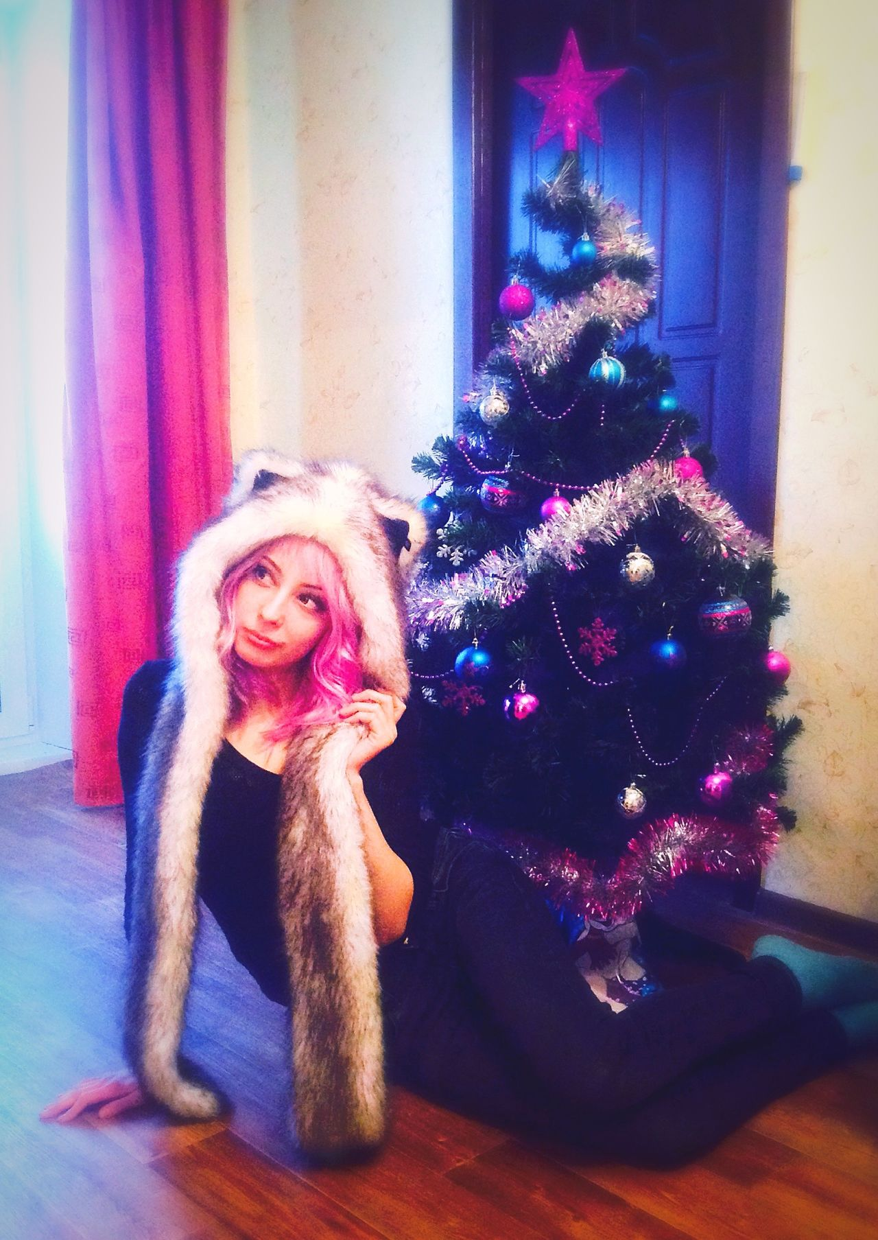 NewYear Me Pink Hair Romantic Unicorn Beautiful Pink Dreaming Fashion Emo Meow Spirtanimal Wolf Hat♥