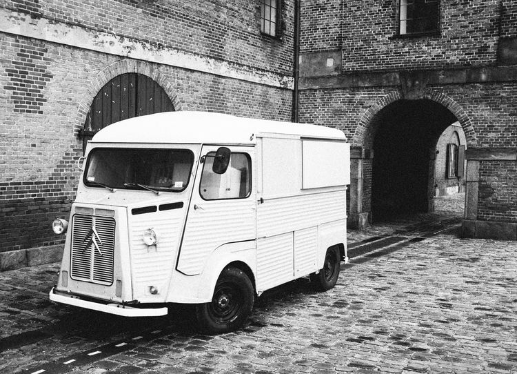 White Van in Copenagen Architecture Classic Car Classic Van Cobbled Street Delivery Delivery Service Delivery Vehicle Land Vehicle Mode Of Transport Street Transportation Van White Van White Van Man