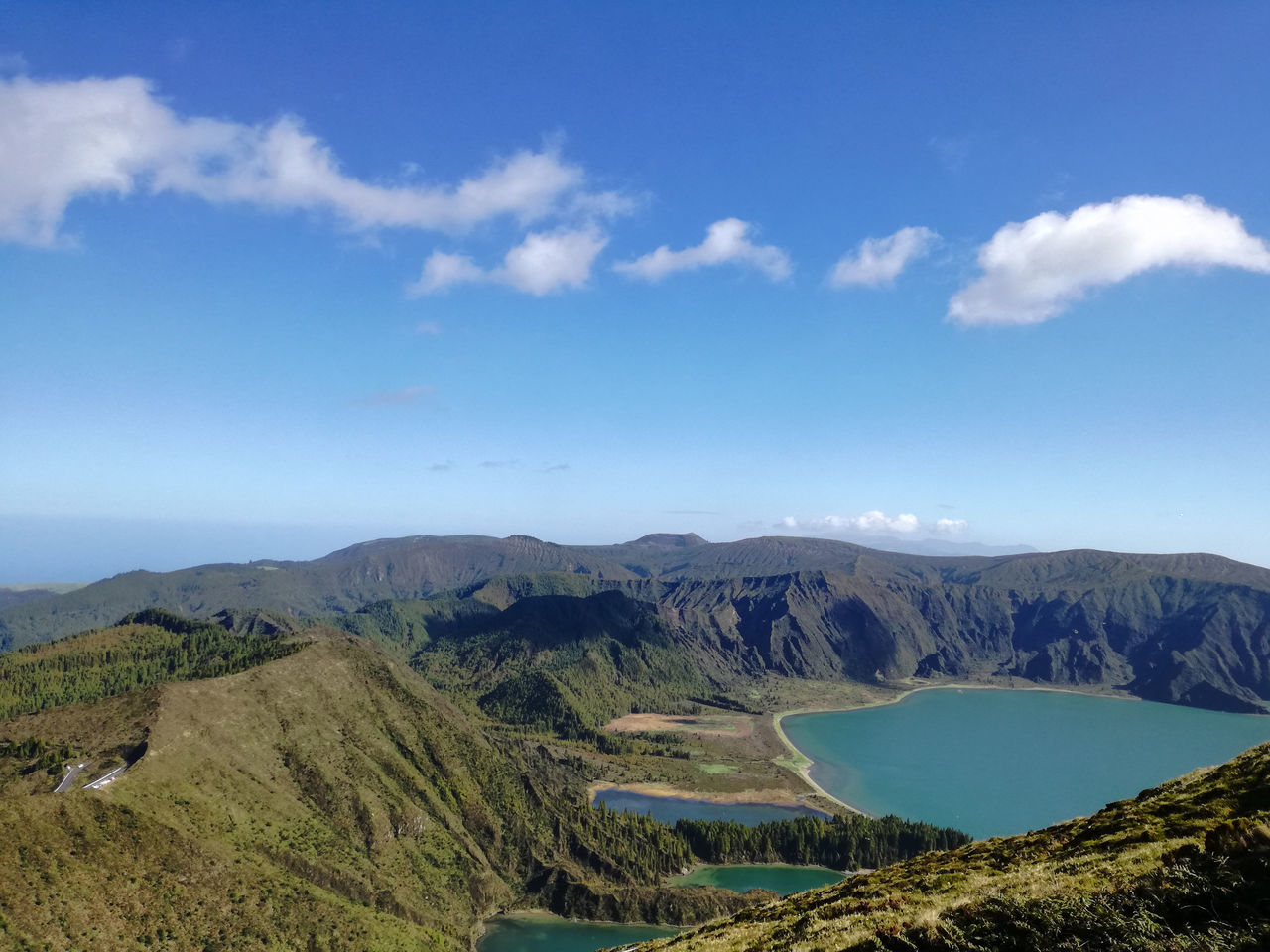 Blue Landscape Scenics Cloud - Sky Mountain Sky Mountain Range Archival Agriculture No People Outdoors Day Nature Blue Sky Beauty In Nature Azores Travel Tranquility Freshness Lake View Water Tranquil Scene Nature Lakes  Lakeview