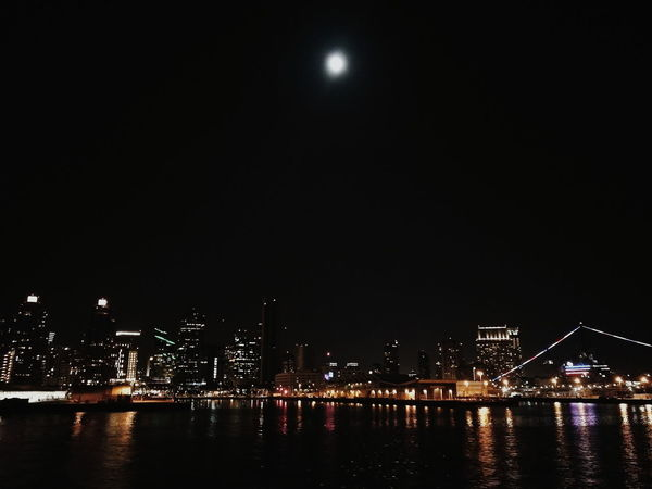 Night Illuminated Moon Arts Culture And Entertainment Nightlife Water Reflection Outdoors Sky No People City Modern Architecture Travel Destinations Skyscraper San Diego, California San Diego Bay Cruise Liner