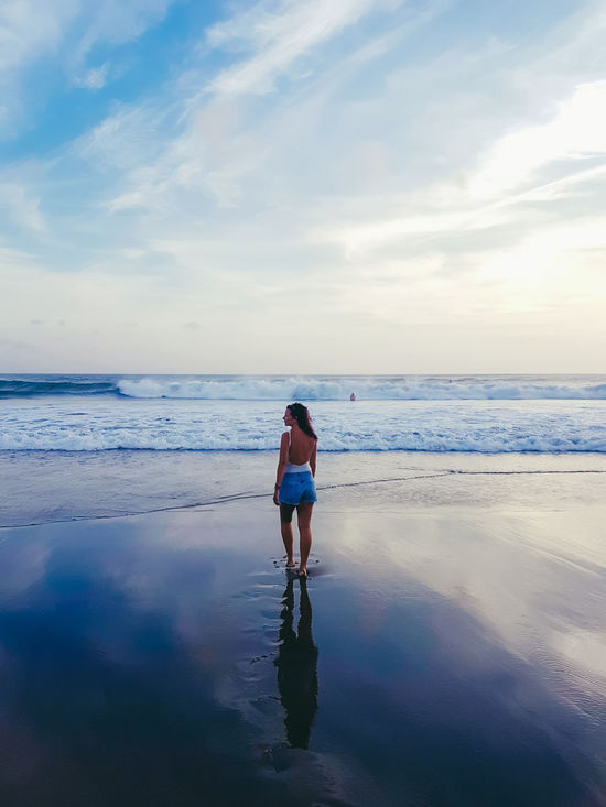 Beach Rear View Reflection Full Length Walking Sea Sky Blue One Person Water Horizon Over Water Landscape Summer Only Women Outdoors Cloud - Sky Scenics Adult People One Woman Only
