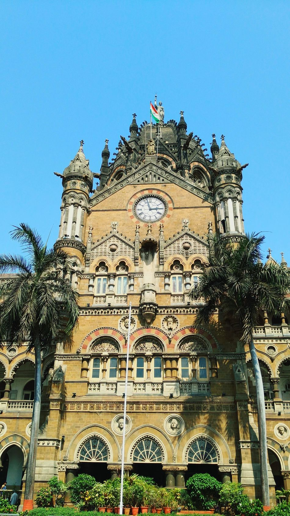 Chatrapati Shivaji Terminus Mumbai Maharashtra clear sky blue building architecture British construction monument landmark public property headquarters Building Exterior City Outdoors No People Day Sky Travel Destinations Architecture