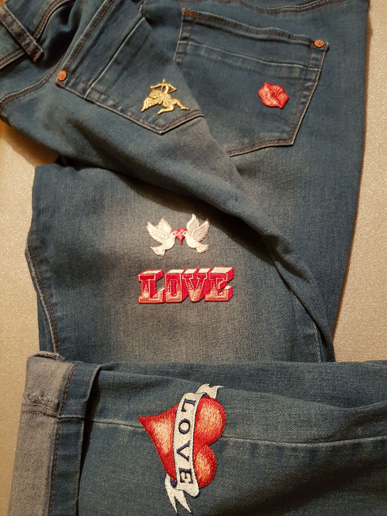 Love Rockabilly Tattoostyle Irononpatches Clothing Jeans Denim TurnUps Casual Clothing Cupid Hearts Wings Angels Fashion Close-up Lips Text One Person Indoors  Day Doves Haberdashery Sewing Pockets