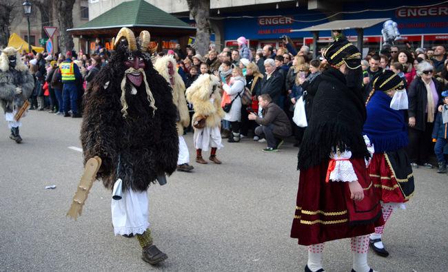 Monster People Together Mohács Busó Busojaras Chasing Away Winter Busójárás Mohács Winter Festival