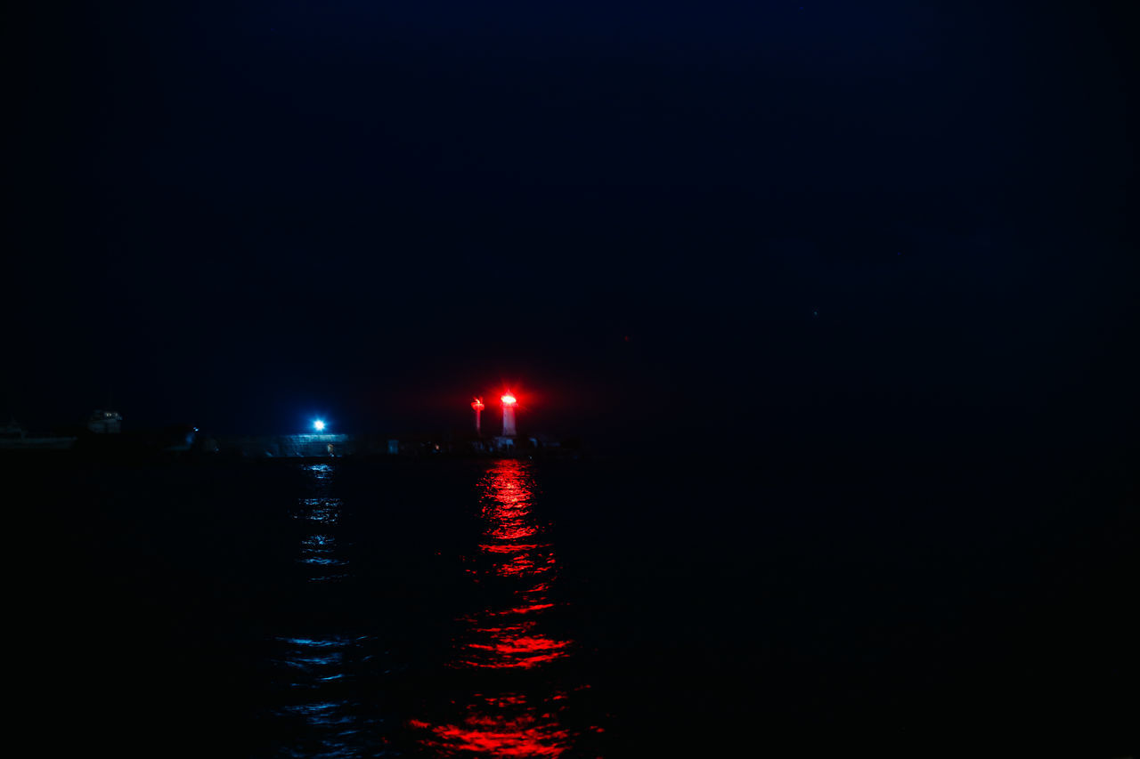 Beauty In Nature Blue Light Lighthouse Lighthouse_lovers My Year My View Nature Night No People Outdoors Red Light Sea Sky Water Waterfront