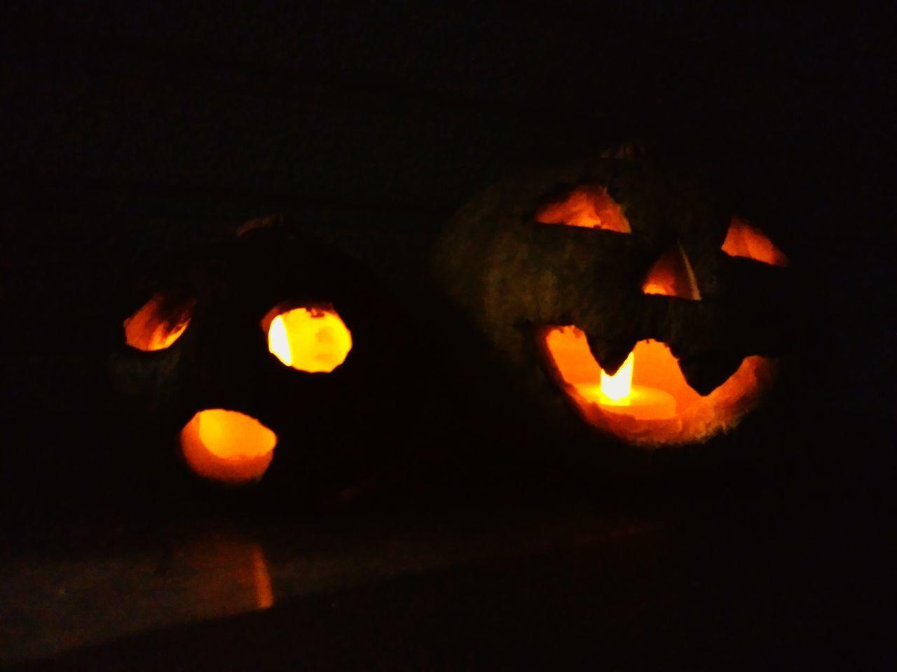 pumpkin, halloween, night, celebration, orange color, illuminated, no people, jack o lantern, anthropomorphic face, close-up, indoors