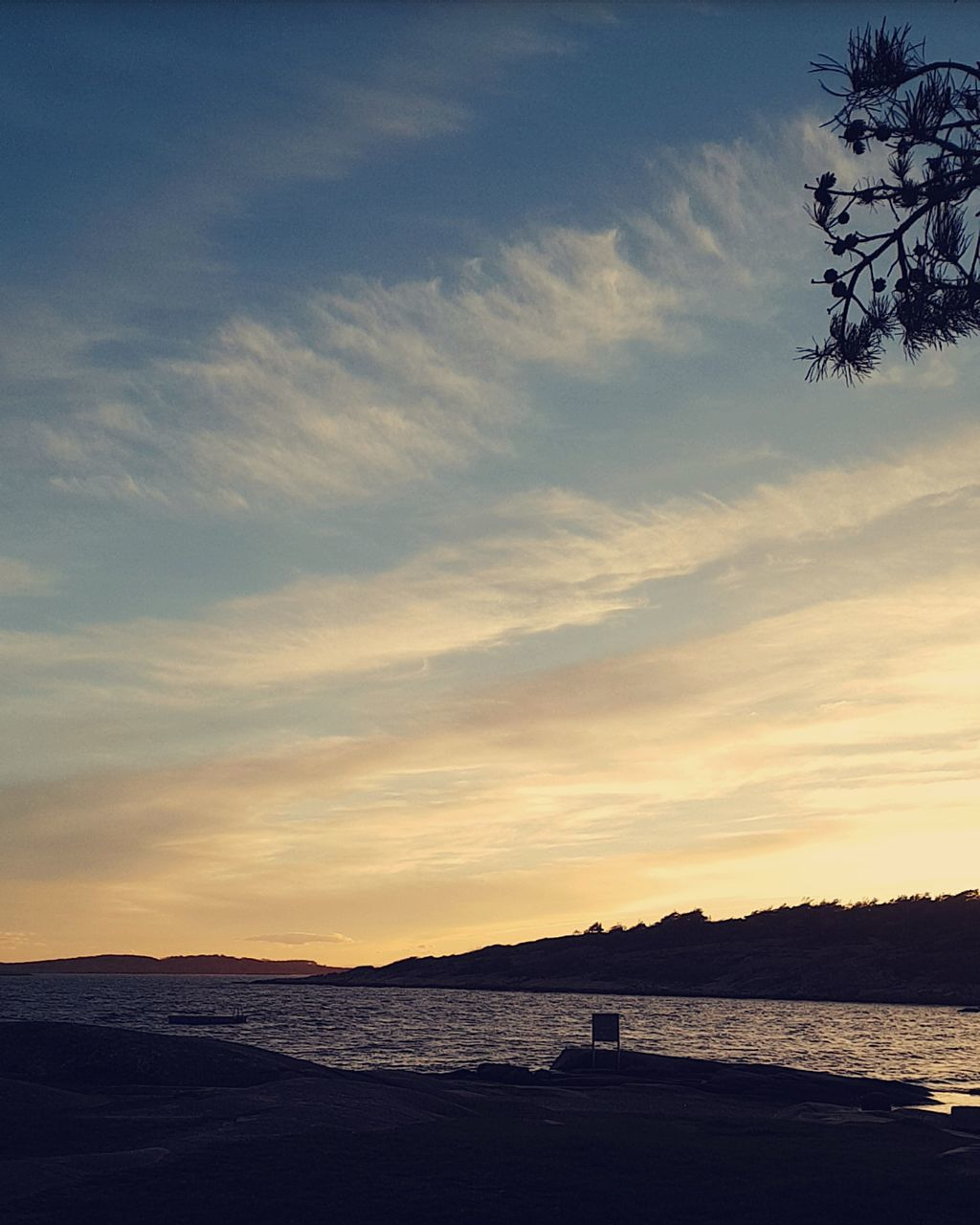 sunset, sky, beauty in nature, scenics, silhouette, tranquility, nature, water, tranquil scene, sea, cloud - sky, outdoors, no people, tree, horizon over water, mountain, day