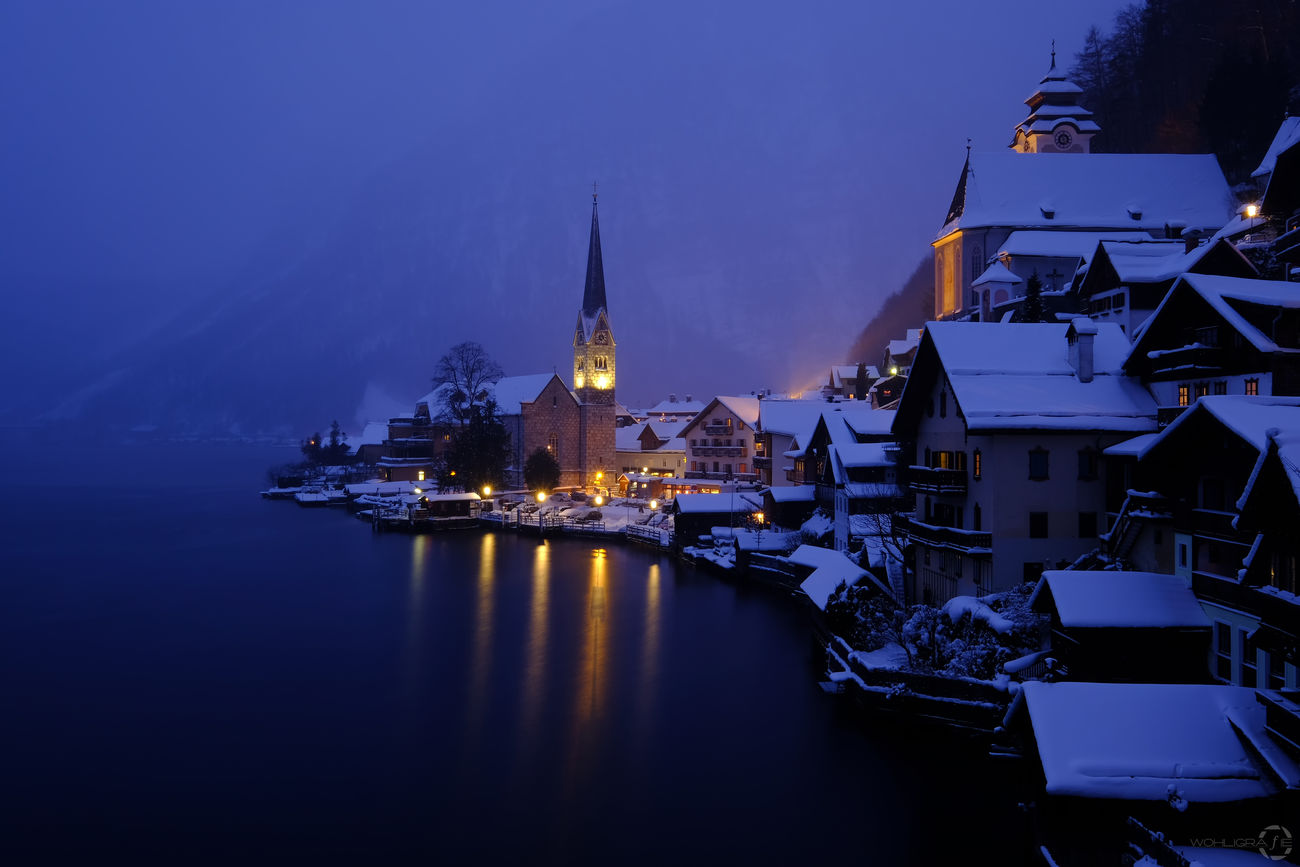 Blue hour in Hallstatt/Austria Night City Architecture Travel Travel Destinations Tower Illuminated Water No People Outdoors Building Exterior Built Structure Urban Skyline Cityscape Landscape Sky Mystyle CityWalk Travel Ice Snow Scenics Winter Taking Photos Cold Temperature