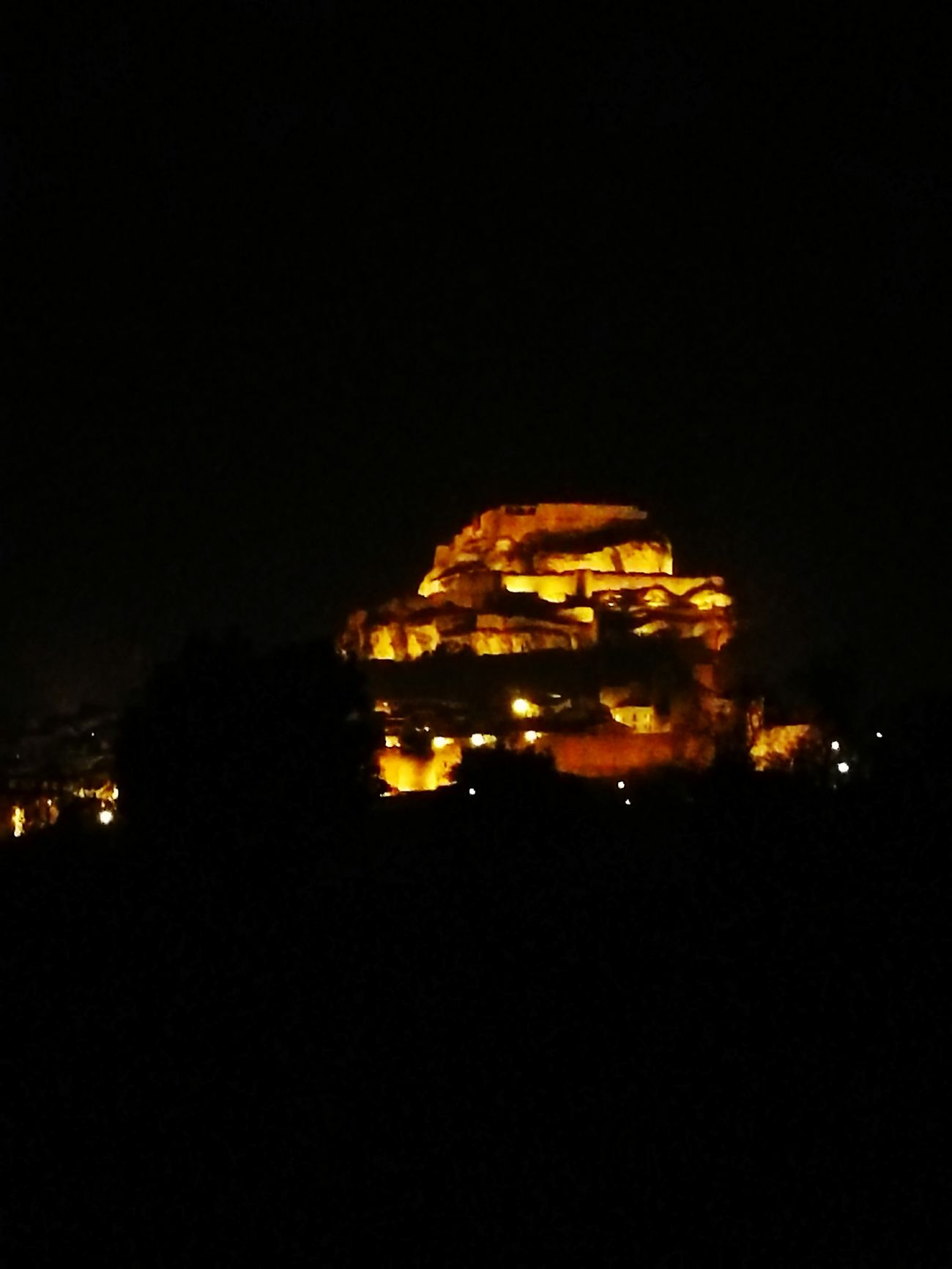 Morella Illuminated Night Castle View