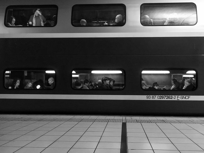 TGV Lifestyles 2/2 😀 Transportation Railroad Station Platform Massy Gare Black And White Blackandwhite Noir Et Blanc Train Train Station EyeEm IPhoneography IPhone Photography Iphonographie Iphonephotography Mobilephotography Outofthephone Iphonegraphy IPhoneography Iphoneonly France Window IPhotofr Observatory