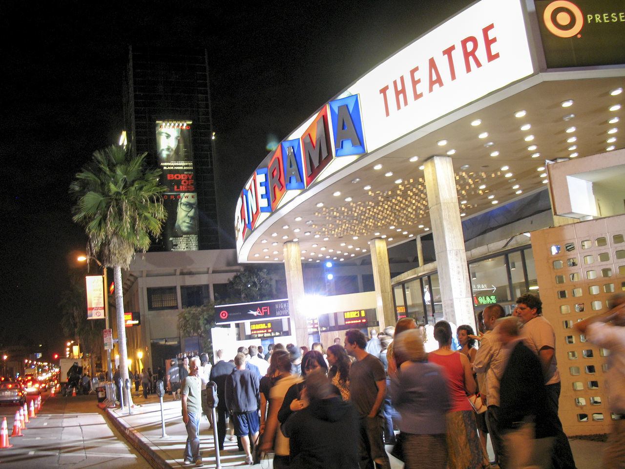 Architecture Building Exterior Built Structure Cinerama City City Life Hollywoo Illuminated Movie Lines Movies Night Palm Tree Sign Street Sunset Boulevard Velvet Rope