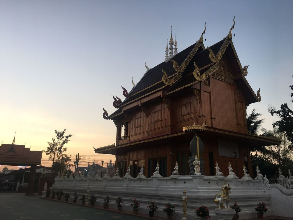 Watrongsao Banklang Lamphun Architecture Building Exterior Built Structure Sunset Travel Destinations Outdoors Sky Place Of Worship No People Day Travel Sunlight Architecture
