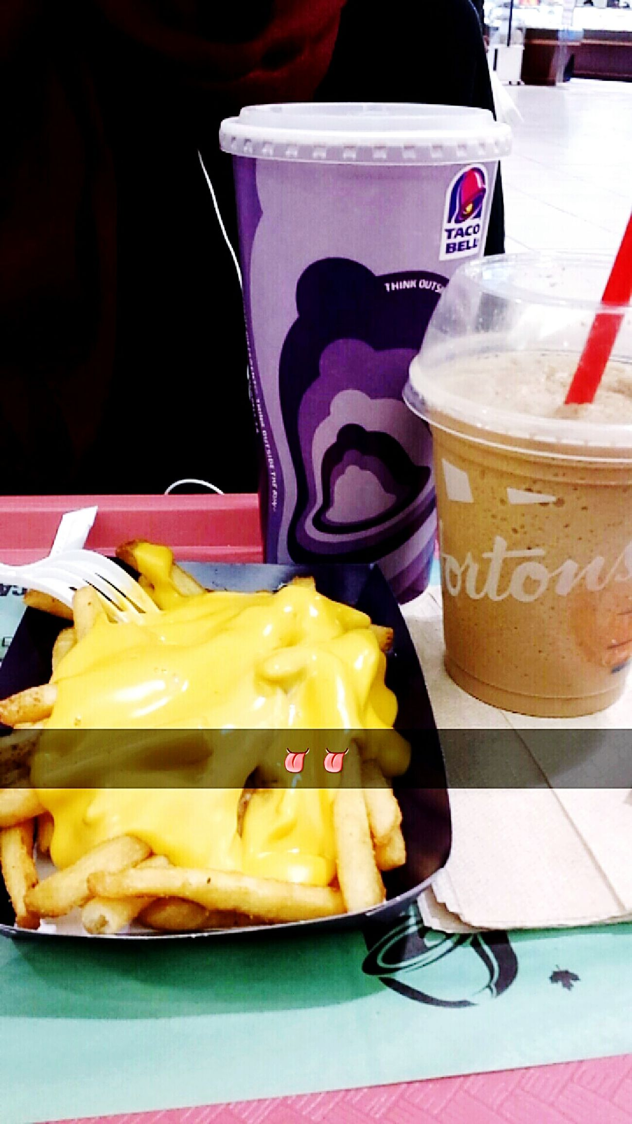 Archival Drink Food No People Delicious Yummy Ready-to-eat Freshness Close-up Indoors  Food And Drink Fries Fries Fries Icedcappuccino Cheese Cheese Fries Timhortons Taco Bell Foodcourt Mall Canada City City Life
