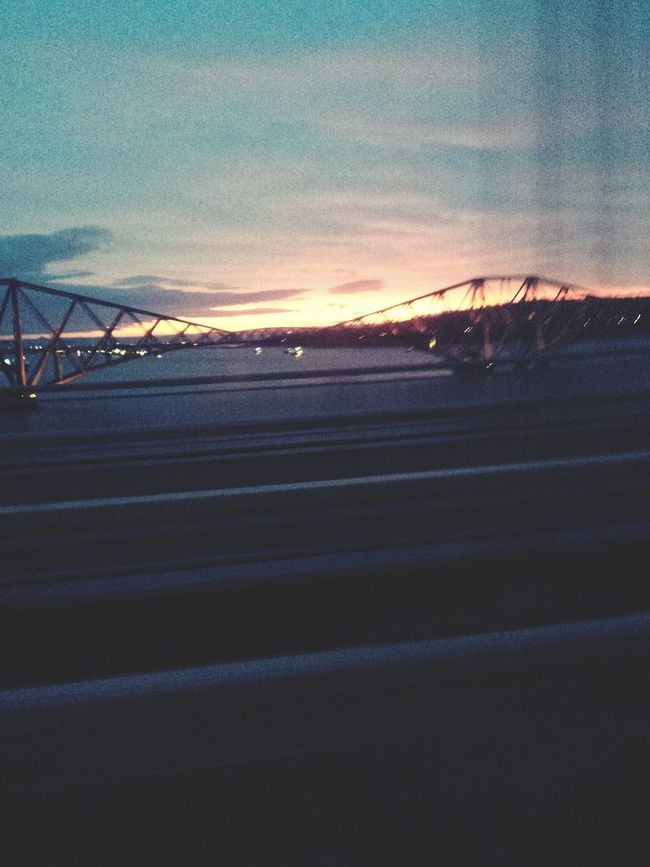 Travelling in Scotland. Dunfermline Sunset Travel Scotland Sky Bridge On The Road Bridge View
