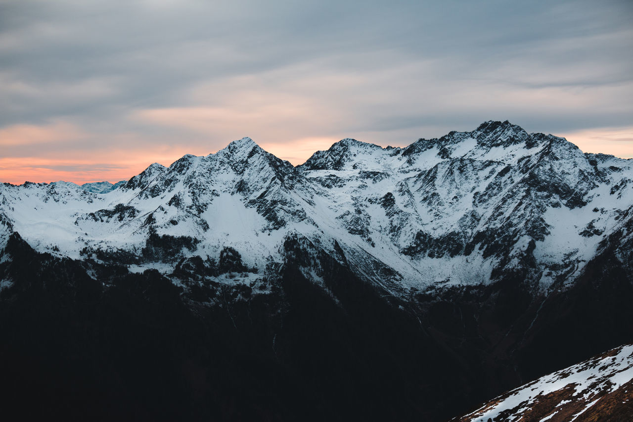 Beauty In Nature Clouds Cold Temperature Europe Italy Landscape Mountain Mountain Peak Mountain Range Mountains Nature Sky Snow Snowcapped Mountain South Tyrol Sunset Winter