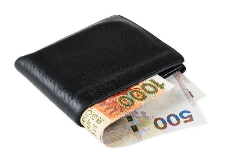 Black leather wallet with Hong Kong Dollar over white background ASIA Bank Banknote Bills Budget Business Cash Close-up Cut Out Debt Dollar Economy Hong Kong Market Money No People Payment Payoff Rich Shopping Spend Still Life Studio Shot Wallet White Background