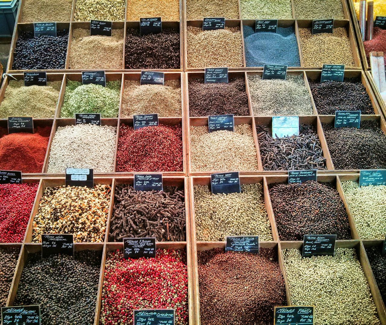 Spices on a Market in France - Marketplace Going To Market Farmers Market Spicy Food Colorful Checkered Street Market Market Colors