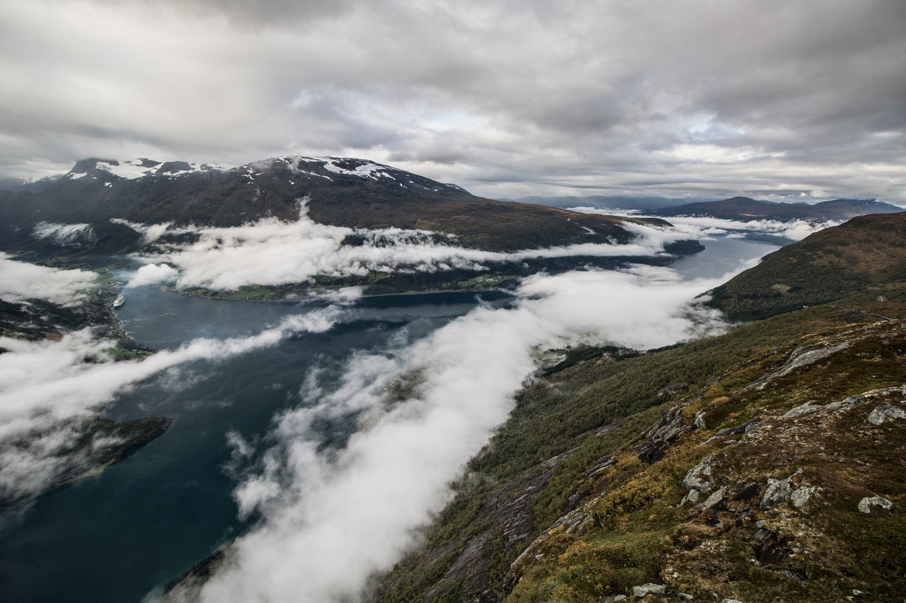 View from Skylift in Loen Wide Angle Norway Skylift Loen Skylift Fjord Cruise Ship Cloud - Sky Landscape Nature Scenics Mountain Outdoors Beauty In Nature No People Travel Day Sky Water Tranquility Travel Destinations Lake Vacations Fog Mountain Range