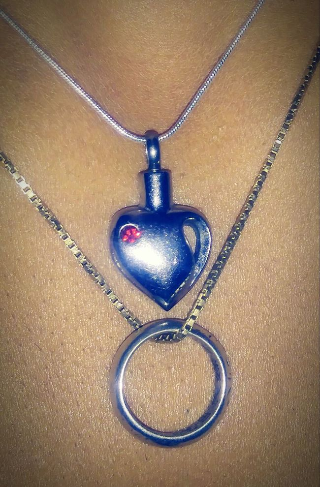 In Memory of my late Mother. Still she is with me... Jewlery,ring,necklace. Silver,heart pendant, Ruby, gold. Collar Bone