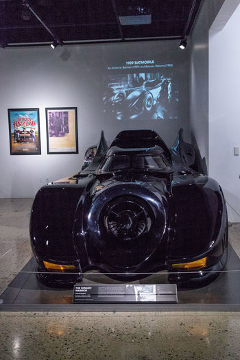 Los Angeles, CA, USA - March 4, 2017: Black 1989 Batmobile driven in the Batman movie at the Petersen Automotive Museum in Los Angeles, California, United States. Editorial only. 1989 Antique Batman Batman Returns Batmobil Batmobile Classic Car Dark Knight Day Indoors  Movie Cars Movie Props No People Petersen Automotive Museum