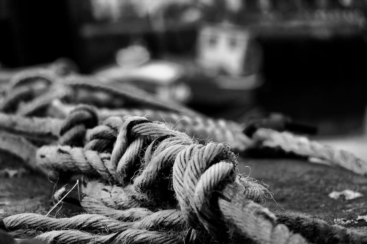Blackandwhite Close Up Close-up Day Fujifilm Fujifilm_xseries Fujixt10 Harbor Harbor No People Outdoors Rope Strength Tangled Tied Knot Tied Up