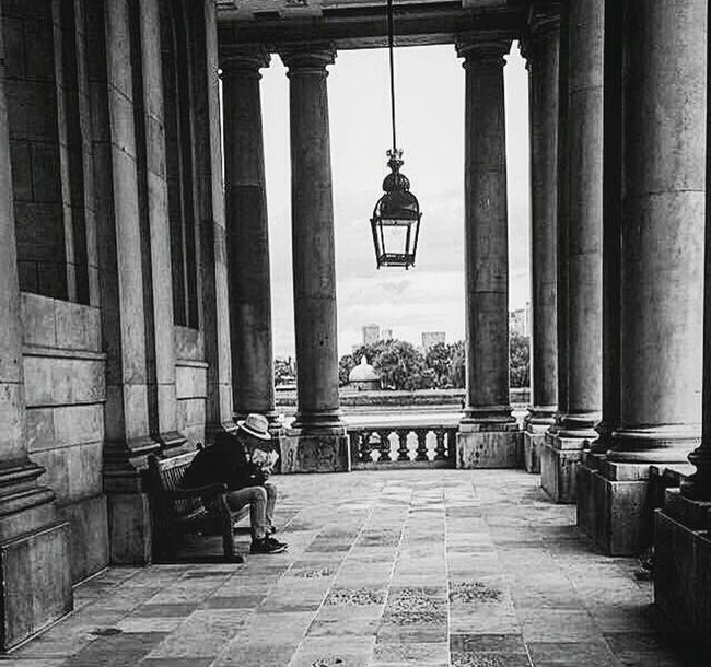 Monochrome Photography London Architecture Built Structure Arch Building Full Length Building Exterior In Front Of Architectural Column Person Day Colonnade Archway The Way Forward Arched Historic