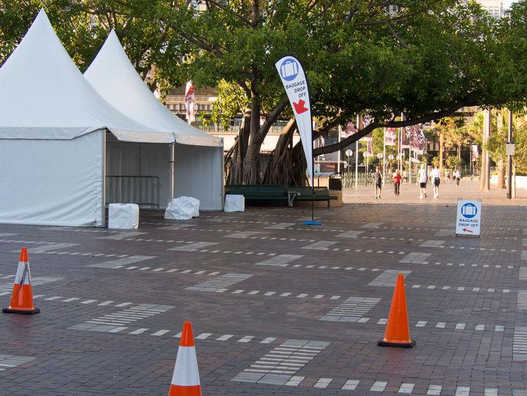 Cruise ship bag drop in Sydney Bag Drop Cones Incidental People Outdoors Road Cone Sidewalk Tent Travel