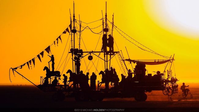 """""""If I had a boat I'd go out on the ocean / And if I had a pony I'd ride him on my boat / And we all together could go out on the ocean / Me upon my pony on my boat"""" -- Lyle Lovett Sunset Silhouette Pony Boat Surrealism Burning Man Art Car Dream This Really Happened"""