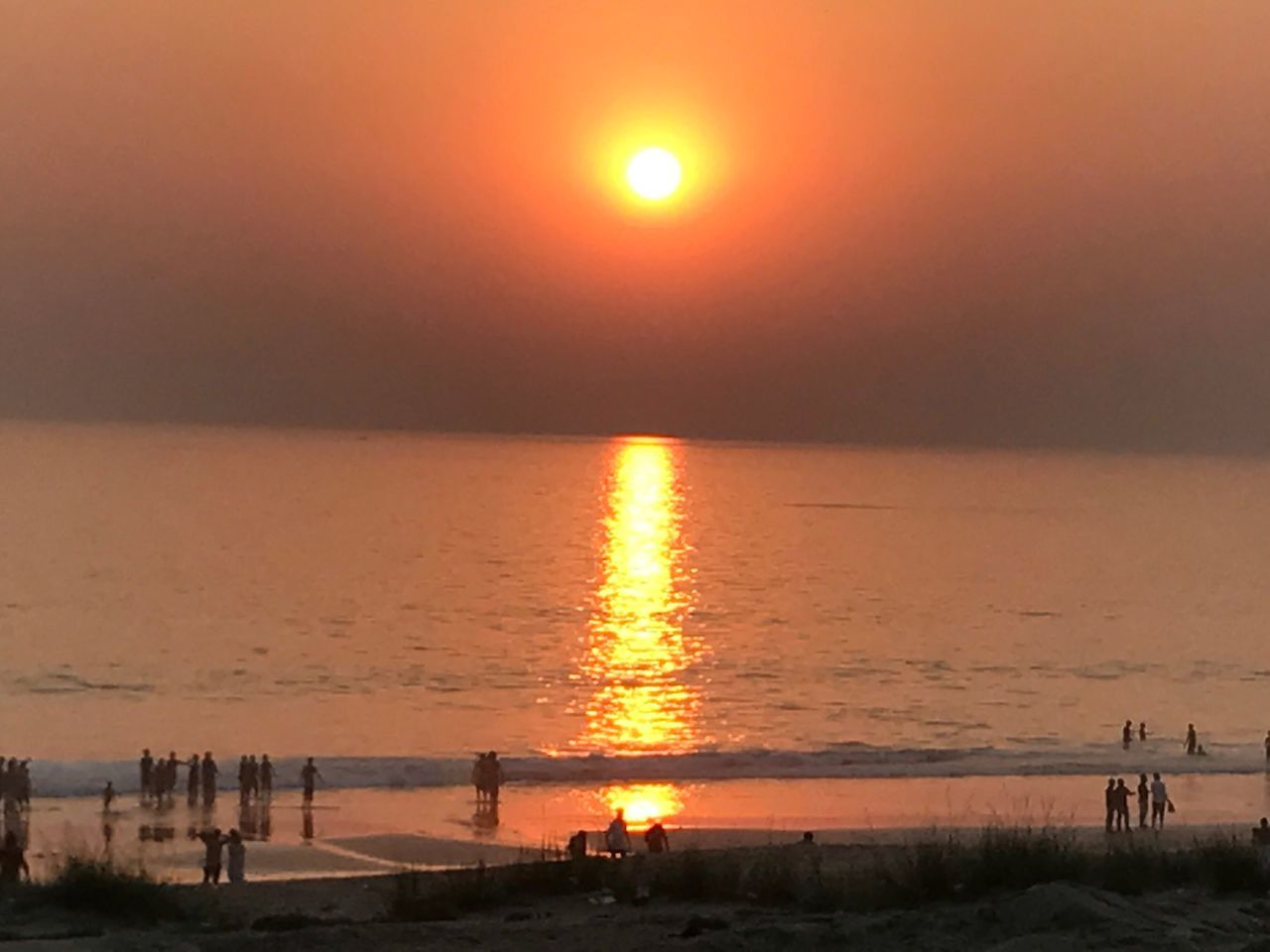 Sunset Sky Scenics Sand Beach Sun Water Orange Color Reflection Sunlight Outdoors India 🇮🇳 Without Edit ^^ Click On IPhone 7