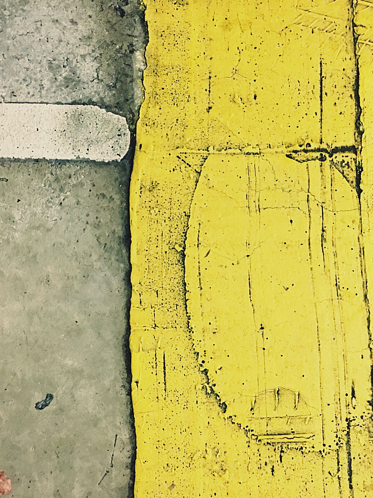 Yellow Paint Concrete Yellow No People Textured  Day Close-up Car Park Car Park Shapes And Lines Close Up Closeup Paint Texture Textures And Surfaces Tyre Mark Tyre Tracks Parking Lot Parking Garage Yellow Walkway Parking Space