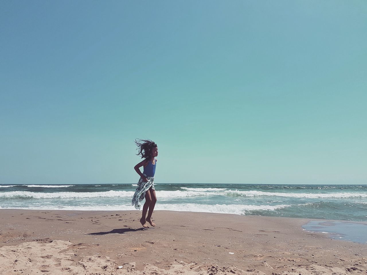 Sea Beach Photography Summer Summer2016 Beauty In Nature SICILY 2016 - Series Sicily Landscape Child At The Beach Jumping Horizon Over Water Sand Full Length Vacations Tranquil Scene Coastline Sky Blue Idyllic Day Enjoyment Peoples And Places People And Places.