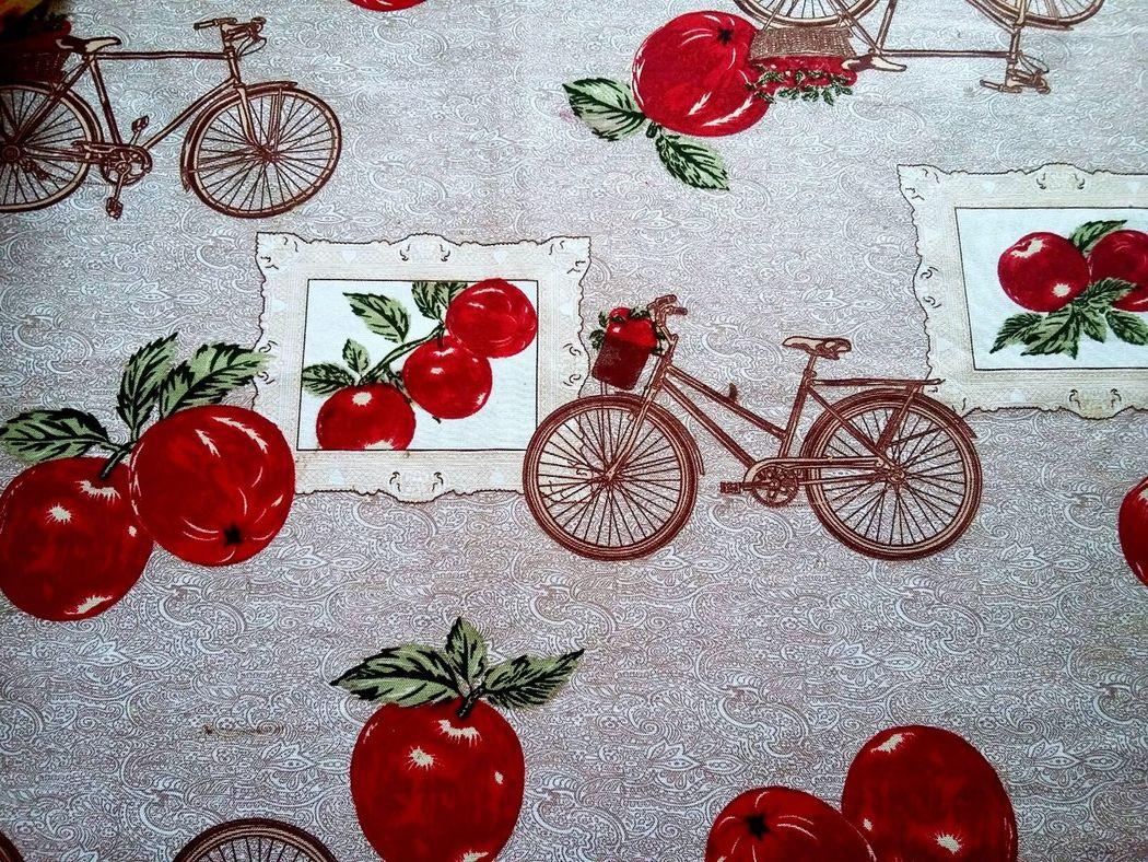 Toalha De Mesa Maçãs Bicicleta Mesa Bonita Red Vermelha