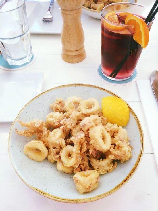 Barcelona Barcelloneta Restaurant Sangria! Food And Drink Ready-to-eat Plate Drink Meal La Vida Es Bella Fish Vida Simple