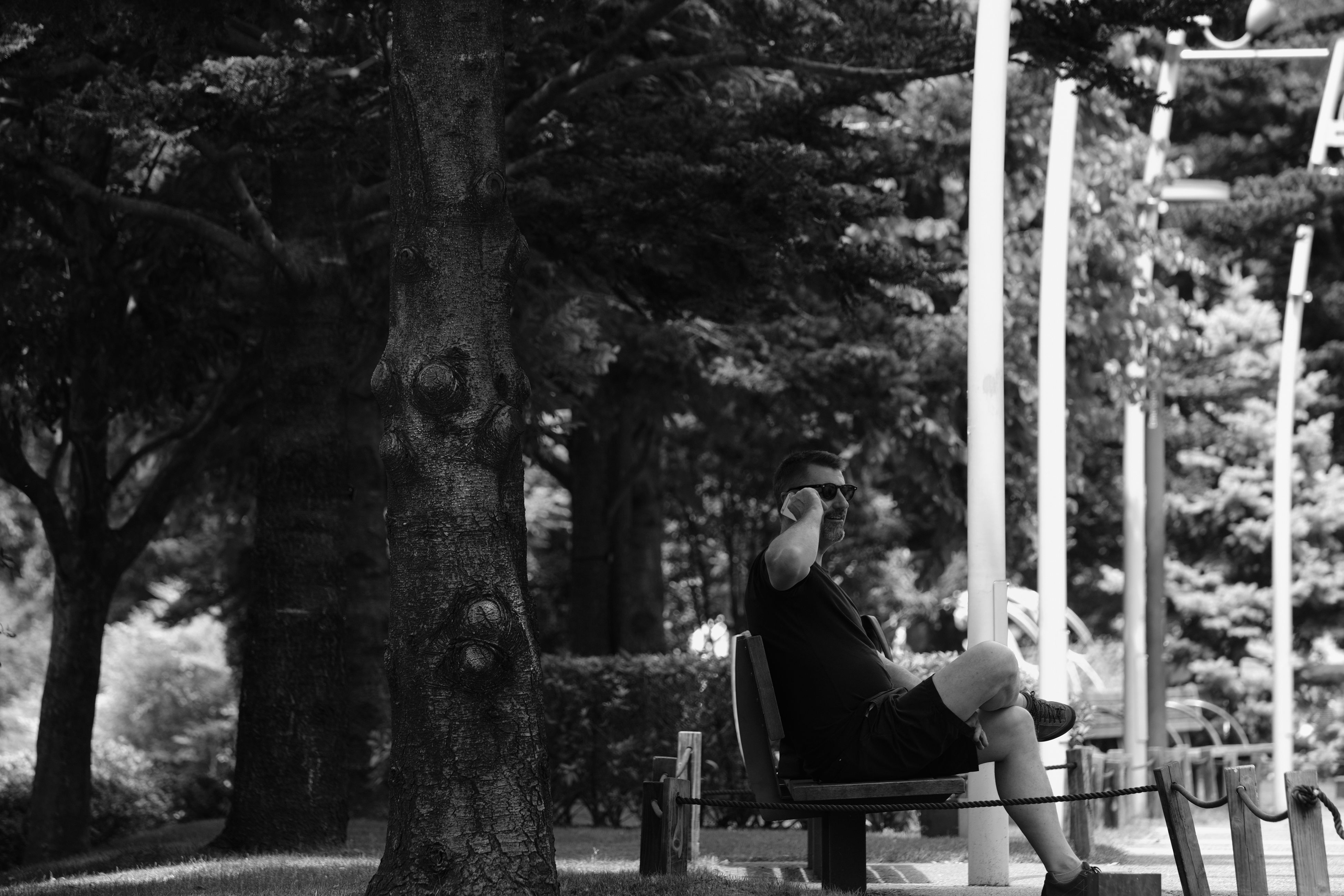 tree, sitting, real people, relaxation, one person, park - man made space, full length, tree trunk, leisure activity, lifestyles, nature, casual clothing, day, outdoors, chair, growth, seat, beauty in nature, people