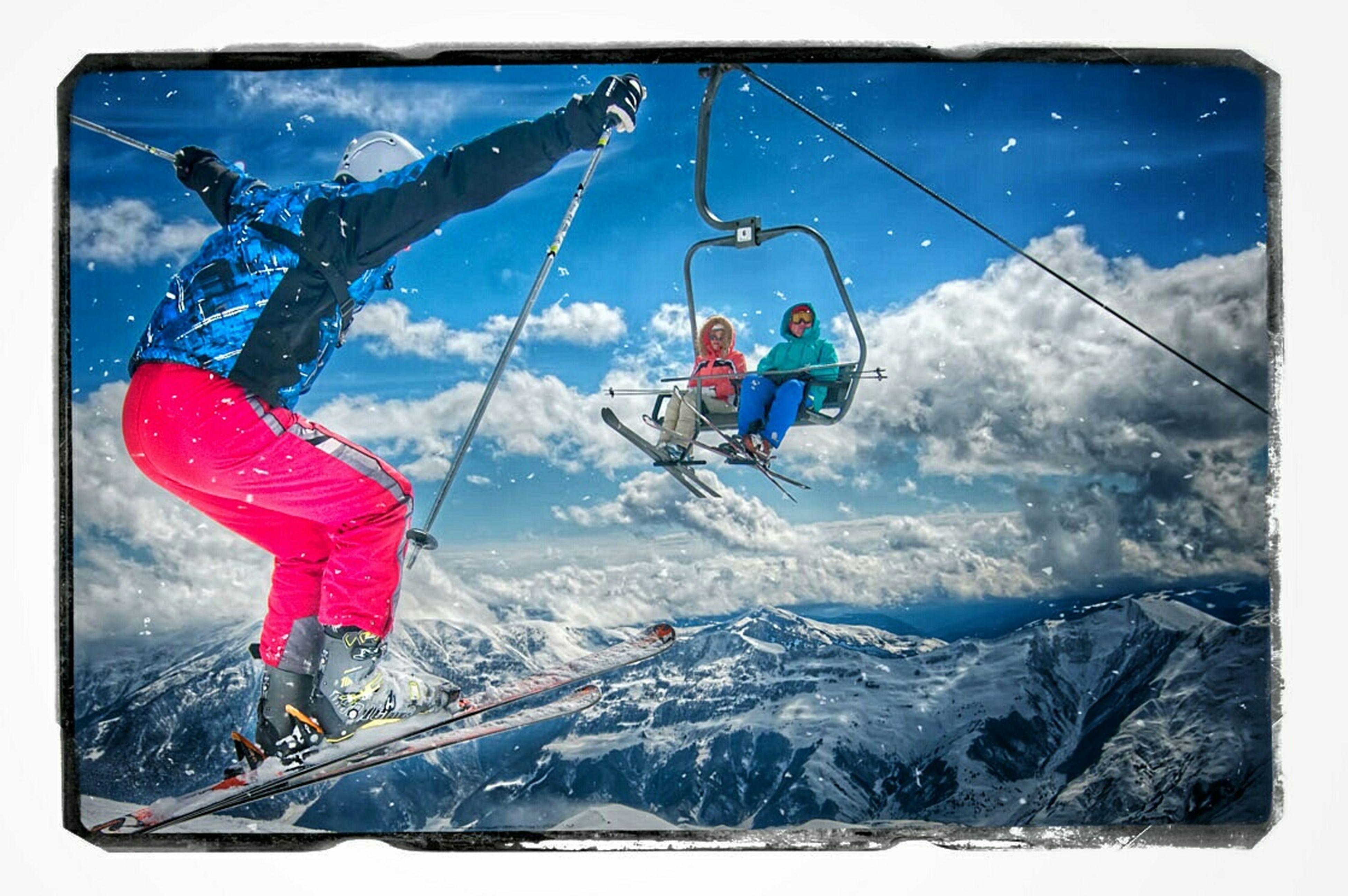 snow, winter, cold temperature, season, leisure activity, transportation, adventure, mode of transport, weather, lifestyles, extreme sports, sport, mountain, men, vacations, snowcapped mountain, enjoyment, travel