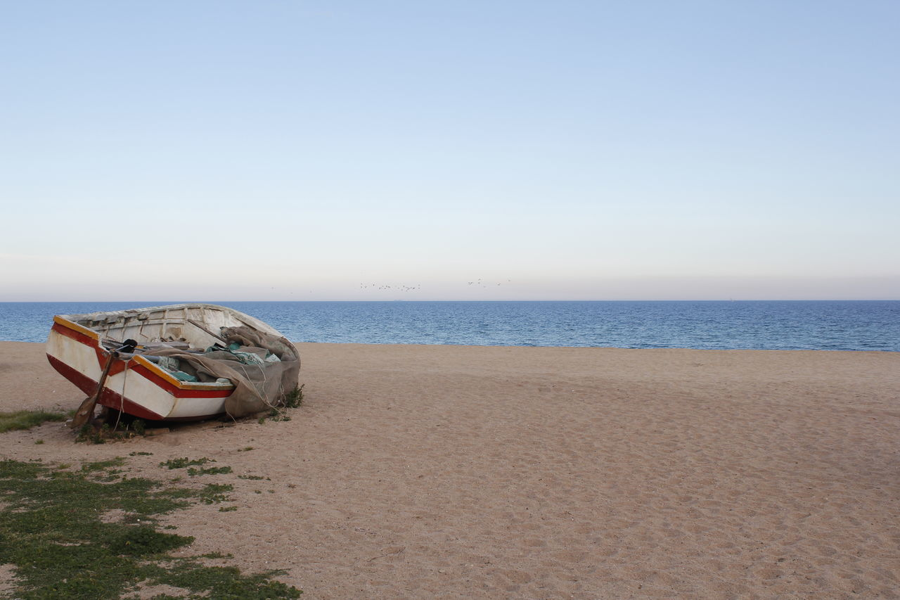 Abandoned Beach Boat Fish Boat Fishboat Fishermen Mediterranean  Nature Sand Sea Sea And Sky