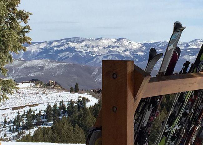 Skiing Utah Deer Valley Stags Lodge Success Bluebird Day View Ski Rack Snow Mountains Mountains And Sky