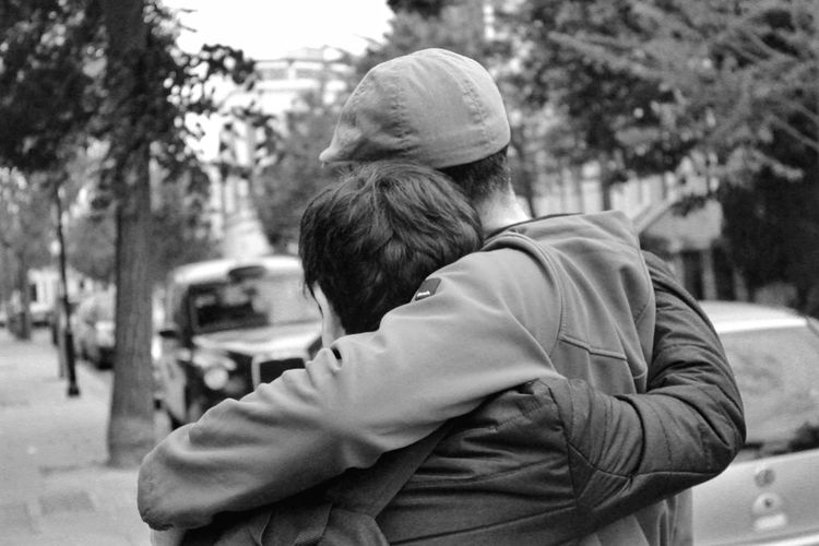 Capturing Souls no Smiles. Love Togetherness Two People Bonding Men Rear View Outdoors Winter Embracing Warm Clothing Real People Lifestyles People Day Cold Temperature Adults Only Bw_collection Monochrome Bw_fanatics Bw_lover Bw_collection Shootermag