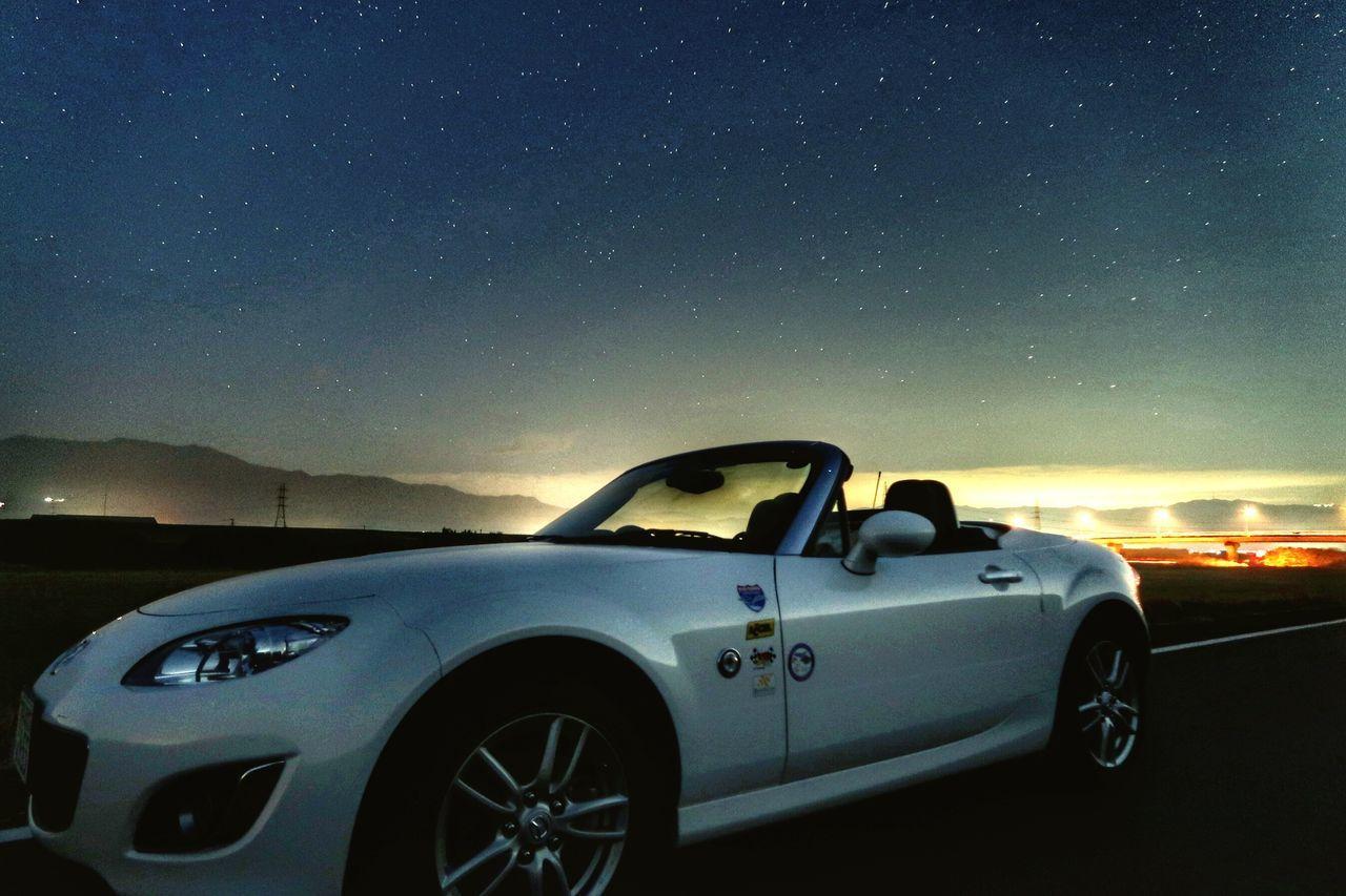 Car Night Star - Space Transportation Astronomy Journey Driving Space Sky Scenics Galaxy Outdoors Mazda MX-5 Miata Road Road Trip Beautiful Road Nature GoodTimes Good Morning !  マツダ ロードスター 星空 川