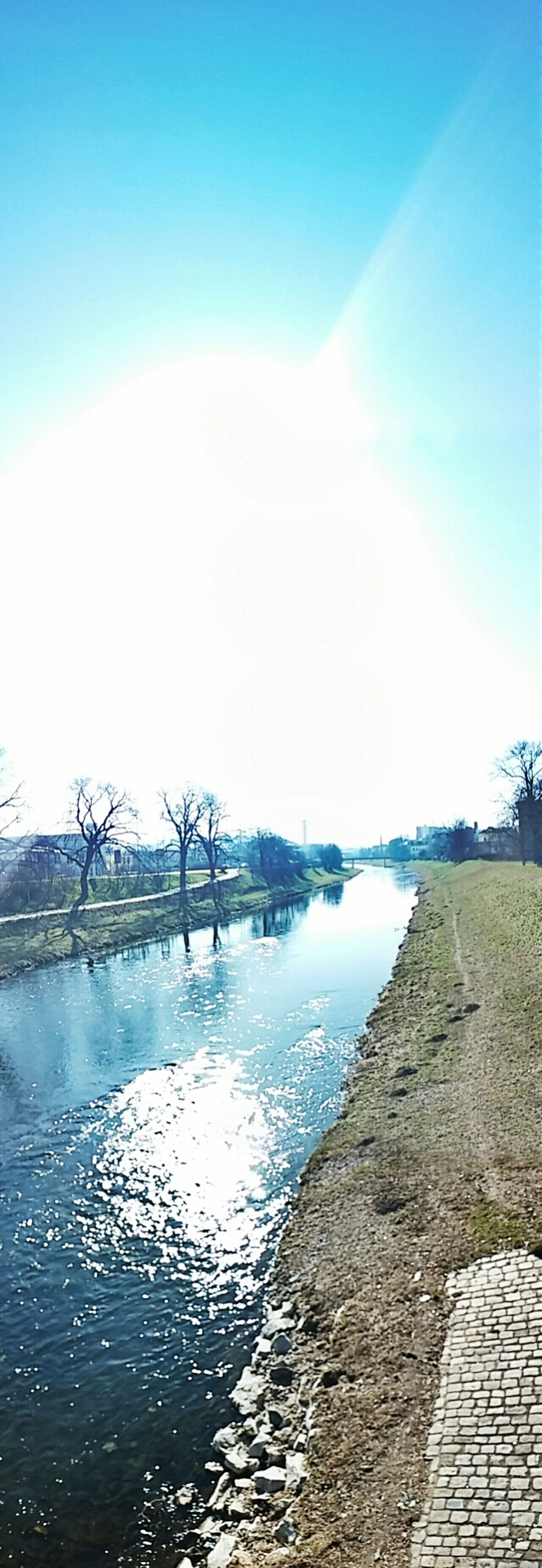 Vertical Panorama Gera Weisse Elster Urban 4 Filter Water Reflections Sunny Day