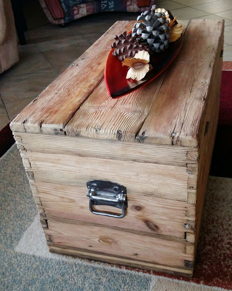 DIY At Home Project Chest Scoured Wood Beauty Indoors  Natural Wood Beauty Oiled Wood Ornaments