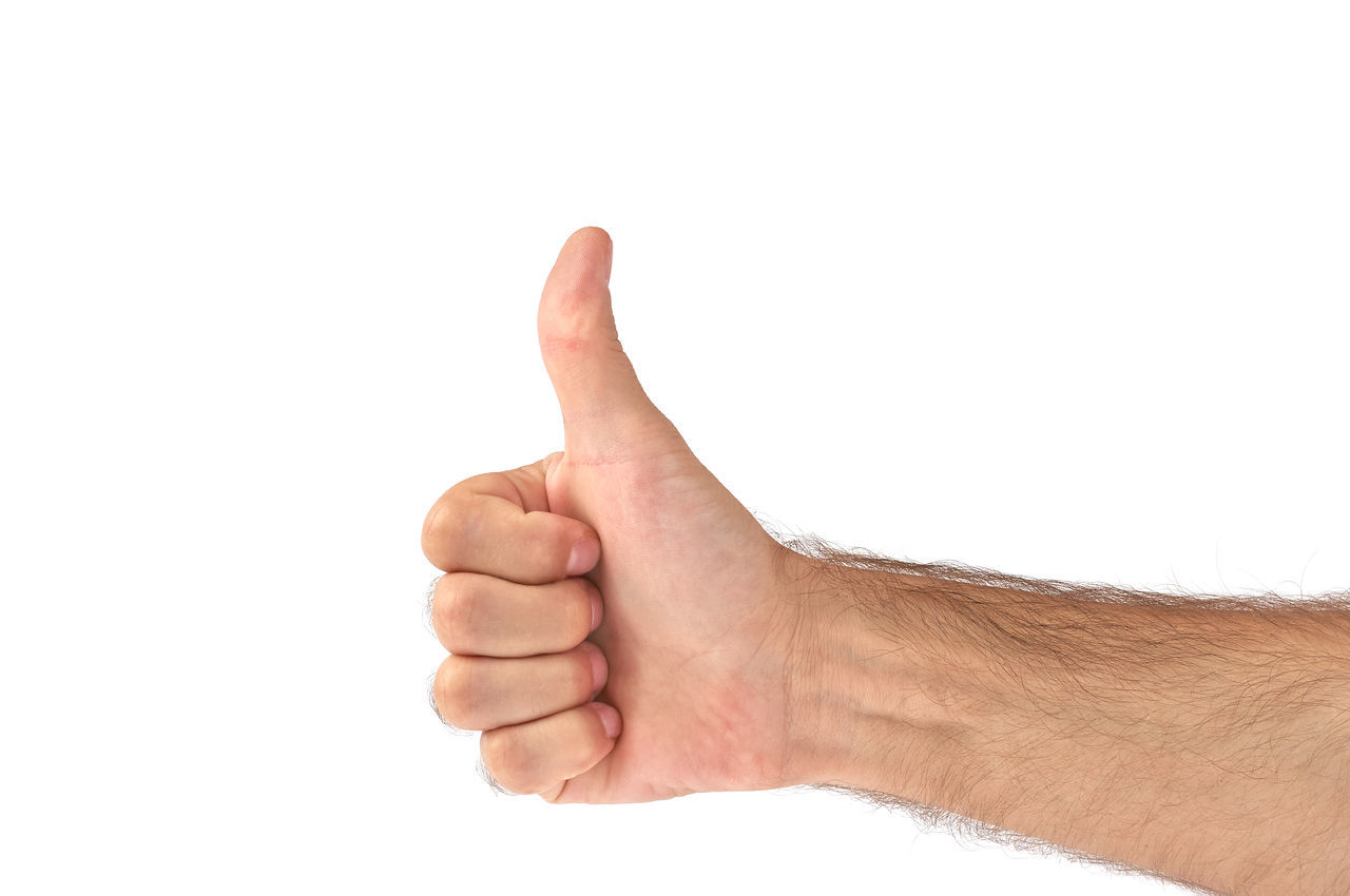 human hand, human body part, white background, gesturing, studio shot, hand sign, human finger, thumbs up, agreement, communication, positive emotion, one person, close-up, adult, people