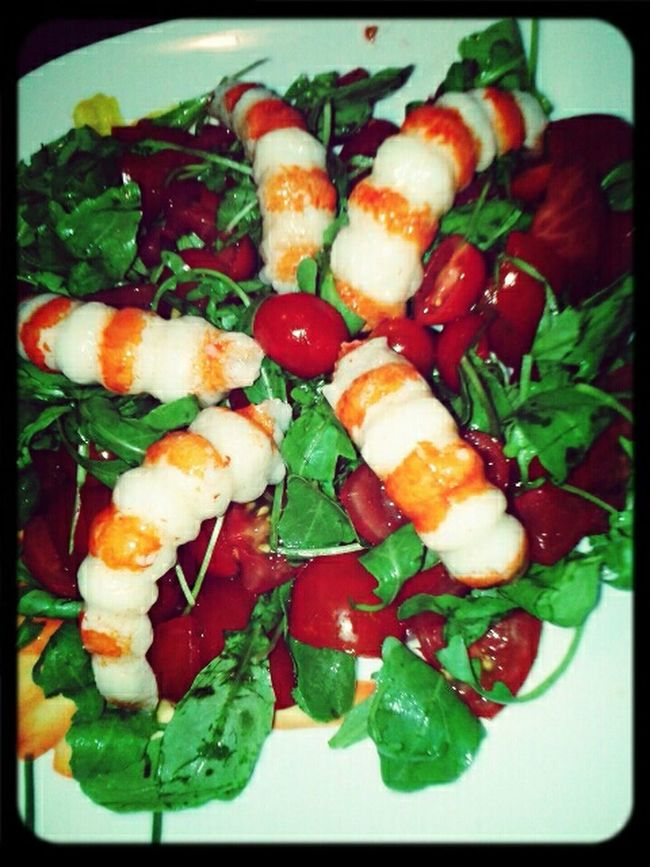 What's For Dinner? Fresh Salad  Salad whit Tomatoes Arugula and Surimi Dinner Insalata Food Porn Awards My World Of Food